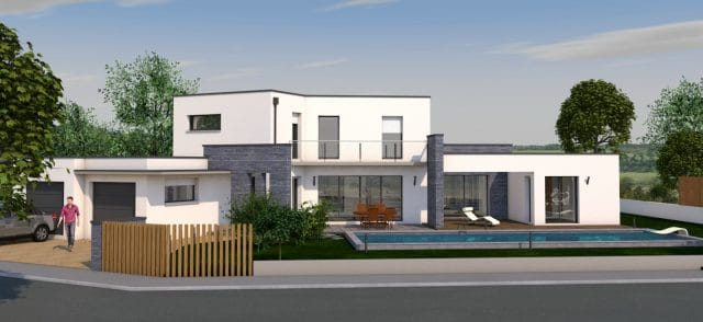 Simulation 3D d'une maison contemporaine ave piscine et garage