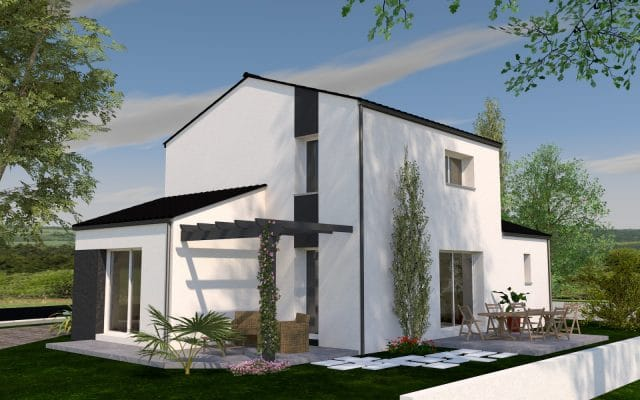 Simulation 3D d'une maison contemporaine